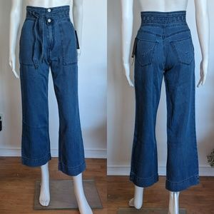 Hudson High Rise Belted Wide Leg Jeans